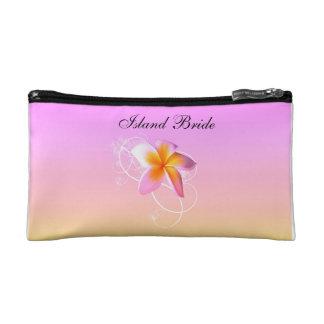 Island bride cosmetics case frangipani wedding makeup bag