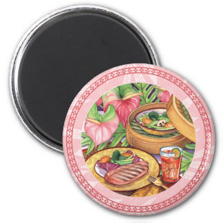 Island Cafe - Bamboo Steamer 6 Cm Round Magnet