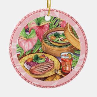 Island Cafe - Bamboo Steamer Round Ceramic Decoration