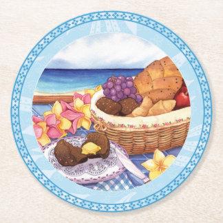 Island Cafe - Breakfast Lanai Round Paper Coaster
