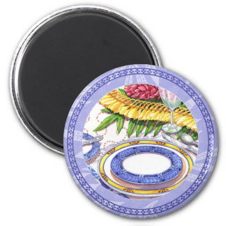Island Cafe - Ginger Lei Place Setting 6 Cm Round Magnet