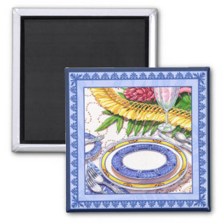 Island Cafe - Ginger Lei Place Setting Square Magnet