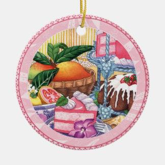Island Cafe - Guava Chiffon Dessert Round Ceramic Decoration