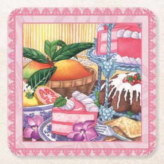 Island Cafe - Guava Chiffon Dessert Square Paper Coaster