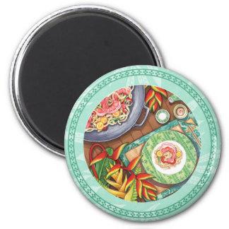 Island Cafe - Heliconia Wok 6 Cm Round Magnet