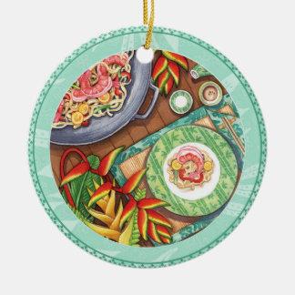 Island Cafe - Heliconia Wok Round Ceramic Decoration