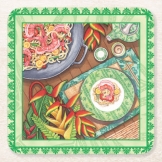 Island Cafe - Heliconia Wok Square Paper Coaster