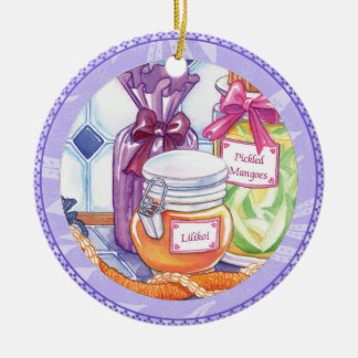 Island Cafe - Lilikoi and Pickled Mangoes Round Ceramic Decoration