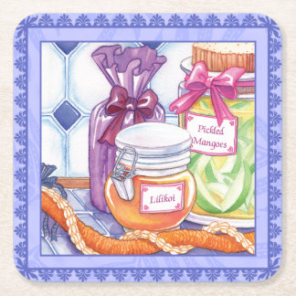 Island Cafe - Lilikoi and Pickled Mangoes Square Paper Coaster