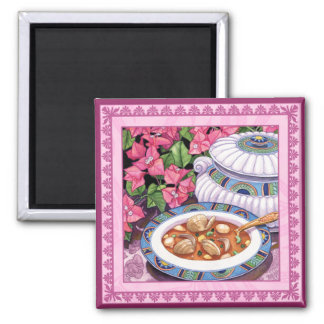 Island Cafe - Soup is Served Square Magnet