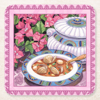 Island Cafe - Soup is Served Square Paper Coaster