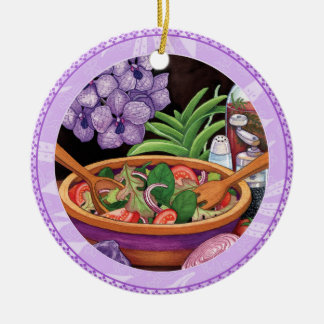 Island Cafe - Tropical Salad Round Ceramic Decoration