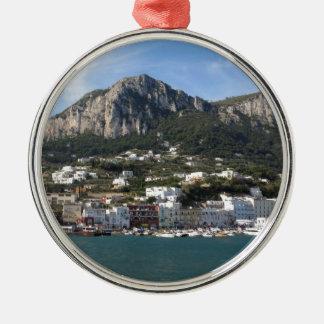 Island Capri panoramic Sea view Silver-Colored Round Decoration