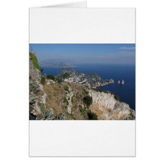 Island Capri view with Faraglioni at the back Card