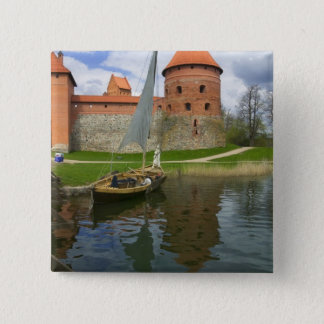 Island Castle by Lake Galve, Trakai, Lithuania 15 Cm Square Badge