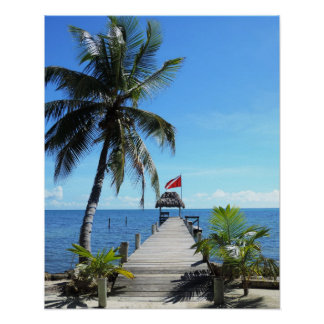 Island diving pier poster