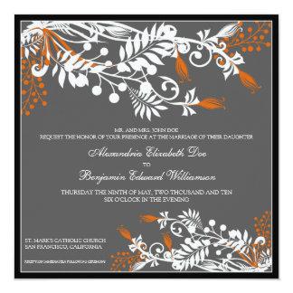 "Island Floral (coral) Elegant Wedding Invitation 5.25"" Square Invitation Card"