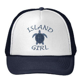 island girl blue turtle summer vacation tropical cap