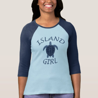 island girl blue turtle summer vacation tropical tshirts