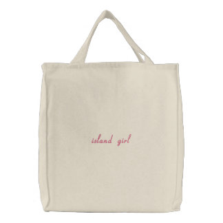 island girl embroidered tote bag