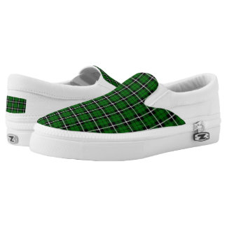 Island green plaid white/black stripe Slip-On shoes