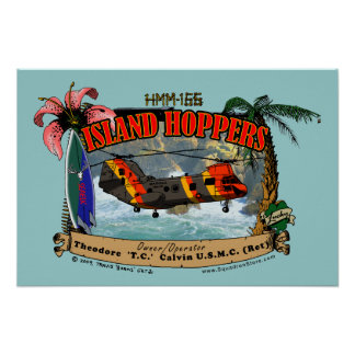 Island Hoppers Poster - blue background