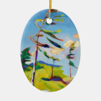 Island Landscape Painting Ceramic Oval Decoration