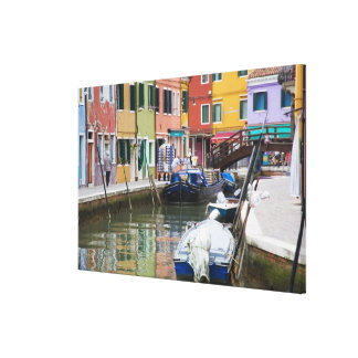 Island of Burano, Burano, Italy. Colorful 2 Canvas Print