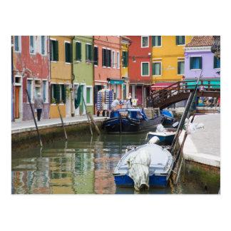 Island of Burano, Burano, Italy. Colorful 2 Postcard