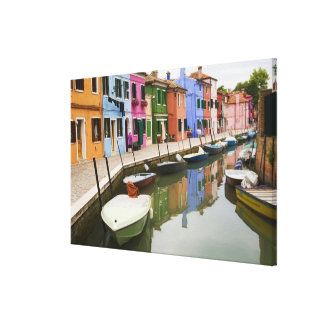 Island of Burano, Burano, Italy. Colorful 4 Canvas Print