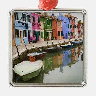 Island of Burano, Burano, Italy. Colorful 4 Silver-Colored Square Decoration