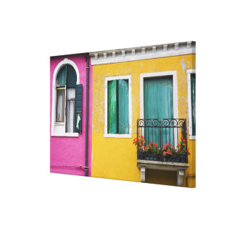 Island of Burano, Burano, Italy. Colorful 5 Canvas Print