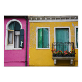 Island of Burano, Burano, Italy. Colorful 5 Poster