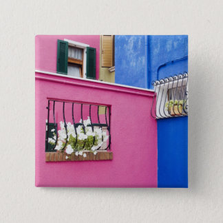 Island of Burano, Burano, Italy. Colorful Burano 15 Cm Square Badge