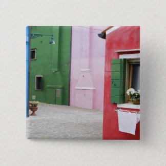 Island of Burano, Burano, Italy. Colorful Burano 2 15 Cm Square Badge