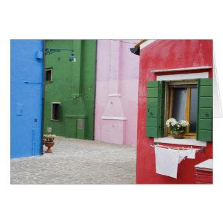 Island of Burano, Burano, Italy. Colorful Burano 2 Card