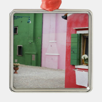 Island of Burano, Burano, Italy. Colorful Burano 2 Silver-Colored Square Decoration