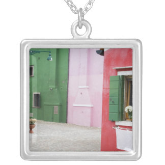 Island of Burano, Burano, Italy. Colorful Burano 2 Silver Plated Necklace