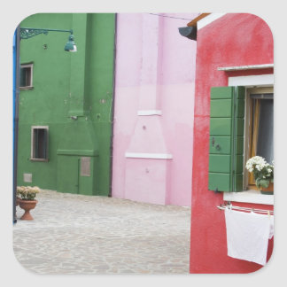 Island of Burano, Burano, Italy. Colorful Burano 2 Square Sticker