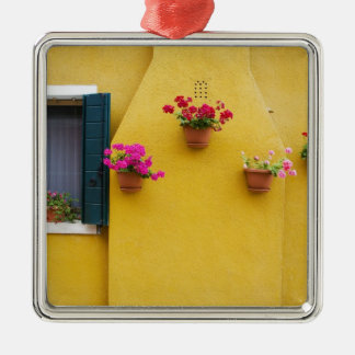 Island of Burano, Burano, Italy. Colorful Burano 3 Silver-Colored Square Decoration