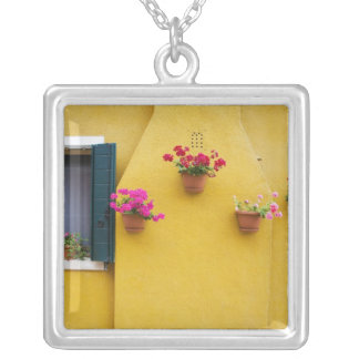 Island of Burano, Burano, Italy. Colorful Burano 3 Silver Plated Necklace