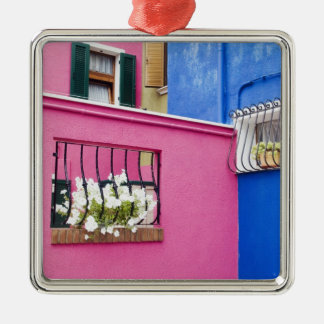 Island of Burano, Burano, Italy. Colorful Burano Silver-Colored Square Decoration