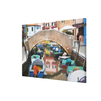 Island of Burano, Burano, Italy. Colorful Canvas Print