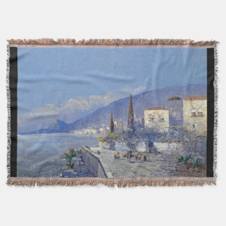 Island of Capri Italy Flowers Coast Throw Blanket