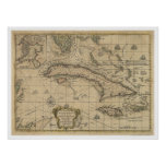 Island of Cuba Map - 1762 Poster