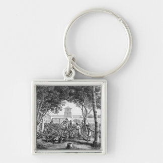 Island of Guam: Natives at Work in the Garden of t Silver-Colored Square Key Ring
