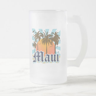 Island of Maui Hawaii Souvenir Frosted Glass Beer Mug