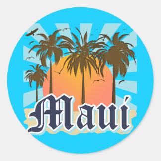 Island of Maui Hawaii Souvenir Round Sticker