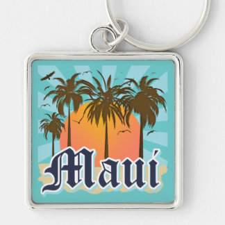 Island of Maui Hawaii Souvenir Silver-Colored Square Key Ring