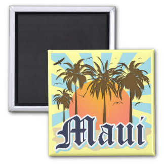 Island of Maui Hawaii Souvenir Square Magnet